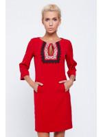 Платье «Мелания» красного цвета с орнаментом и кружевом