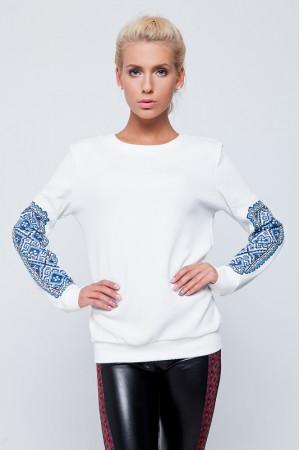 Женский свитшот со вставками в стиле вышивки
