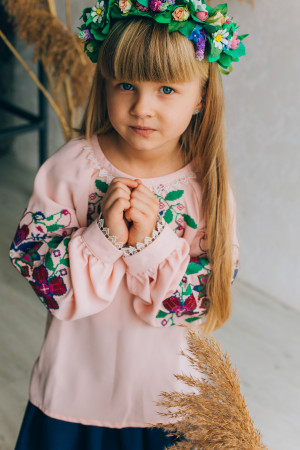 Вишиванка для дівчинки «Христинка» рожевого кольору