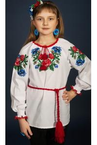 Вишиванка для дівчинки «Юленька» білого кольору