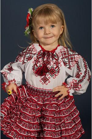 Вышиванка для девочки «Дарочка» белого цвета с красно-черным орнаментом
