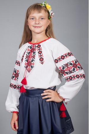 Вышиванка для девочки «Галочка» белого цвета с красно-черным орнаментом
