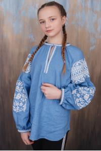 Вишиванка для дівчинки «Вільшанка» блакитного кольору