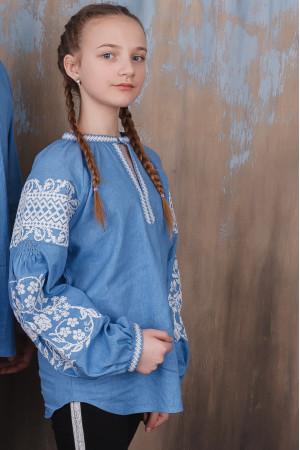 Вышиванка для девочки «Ольшанка» голубого цвета