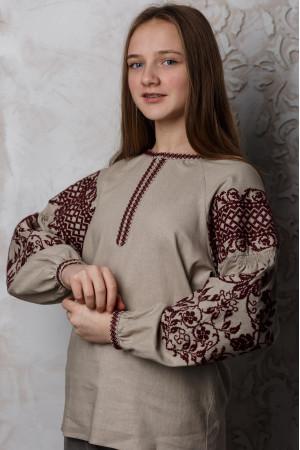 Вышиванка «Ольшанка» бежевого цвета