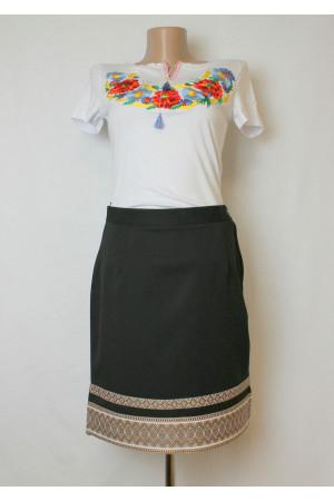 Чорна спідниця з коричневим орнаментом