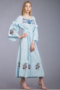 Платье «Оксына» голубого цвета