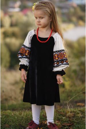 Сукня для дівчинки «Павлинка» чорного кольору з кремовим