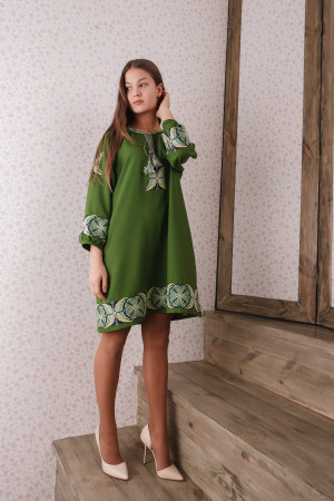 Платье «Папоротник» зеленого цвета