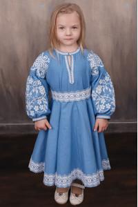 Платье для девочки «Марийка» голубого цвета