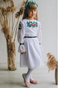 Платье для девочки «Птички» белого цвета