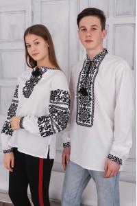 Вышитый комплект для пары «Олеся и Роман» белого цвета