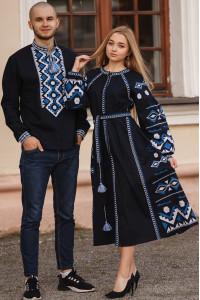 Вишитий комплект для пари «Модрина та Хорей» темно-синього кольору