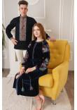 Вышитый комплект для пары «Анна и Болеслав» черно-синего цвета