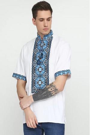 Вишиванка чоловіча «Слобода» з чорно-блакитним орнаментом