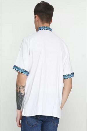 Вышиванка мужская «Слобода» с черно-голубым орнаментом