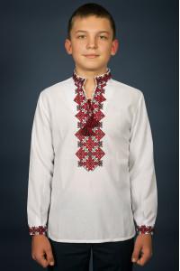 Вишиванка для хлопчика «Ростислав» з червоно-чорним орнаментом