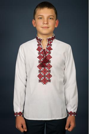 Вышиванка для мальчика «Ростислав» с красно-черным орнаментом