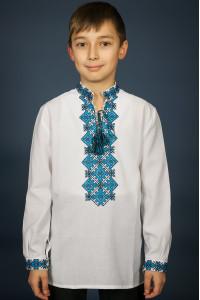 Вышиванка для мальчика «Ростислав» с черно-голубым орнаментом