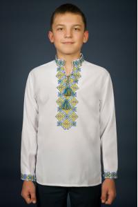 Вышиванка для мальчика «Ростислав» с желто-голубым орнаментом