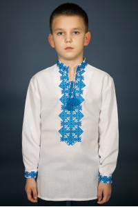 Вышиванка для мальчика «Ростислав» с голубым орнаментом