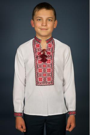 Вышиванка для мальчика «Марьянчик» с красно-черным орнаментом