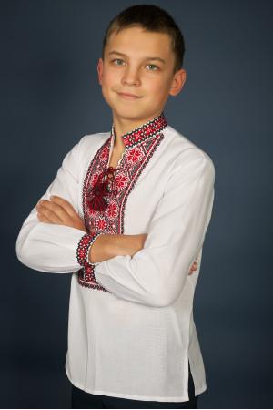 Вишиванка для хлопчика «Мар'янчик» з червоно-чорним орнаментом