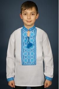 Вышиванка для мальчика «Марьянчик» с голубым орнаментом
