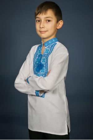 Вишиванка для хлопчика «Мар'янчик» з блакитним орнаментом