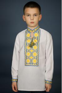 Вишиванка для хлопчика «Мар'янчик» з жовто-блакитним орнаментом