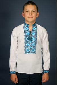 Вышиванка для мальчика «Марьянчик» с черно-голубым орнаментом