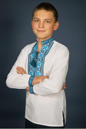 Вишиванка для хлопчика «Мар'янчик» з чорно-блакитним орнаментом