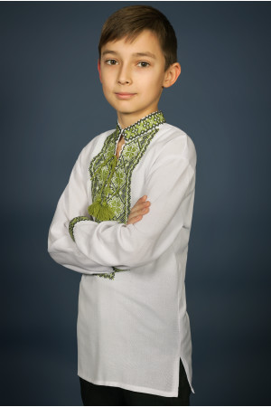 Вишиванка для хлопчика «Мар'янчик» з зеленим орнаментом