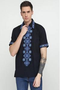 Вышиванка мужская «Сквыра» темно-синего цвета
