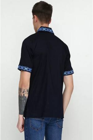 Вишиванка чоловіча «Сквира» темно-синього кольору