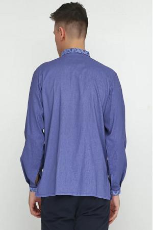 Вишиванка чоловіча «Дністер» кольору джинс