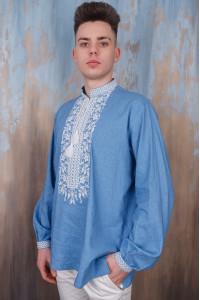 Вишиванка для хлопчика «Дністер» блакитного кольору