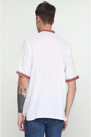 Вышиванка мужская «Мирон» с красным орнаментом