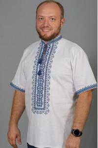 Вышиванка мужская «Мирон» с синим орнаментом