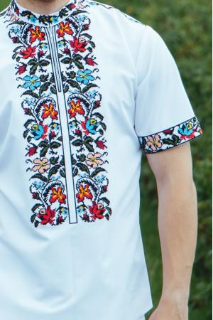 Вышиванка мужская «Василько» белого цвета