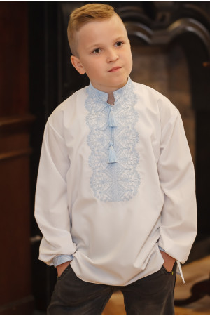 Вишиванка для хлопчика «Ілько» білого кольору