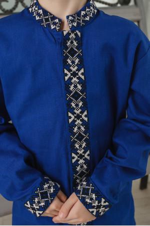 Вышиванка для мальчика «Демид» синего цвета