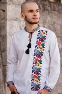 Вышиванка мужская «Борисфен» белого цвета