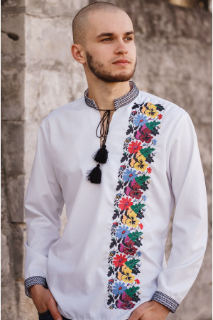 Вишиванка чоловіча «Борисфен» білого кольору