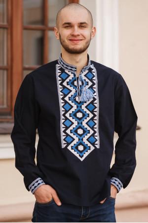 Вишиванка чоловіча «Хорей» темно-синього кольору