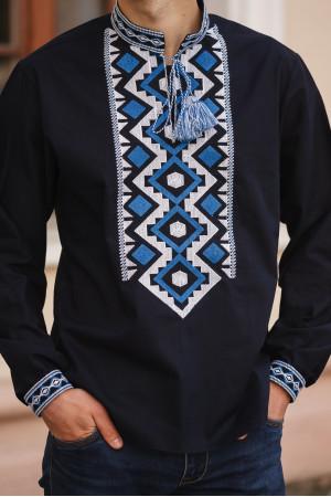 Вышиванка мужская «Хорей» темно-синего цвета