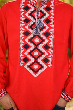 Вышиванка мужская «Хорей» красного цвета