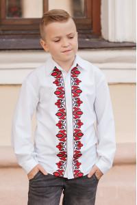 Вышиванка для мальчика «Устин» с красно-черным орнаментом