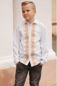 Вишиванка для хлопчика «Устин» з коричневим орнаментом