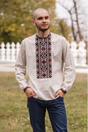 Вышиванка мужская «Гесик» бежевого цвета
